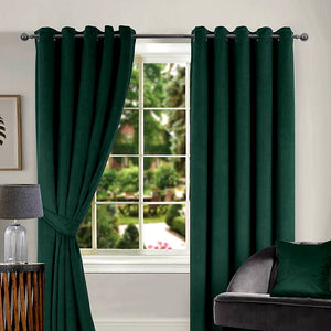 Green Velour Thermal Interlined Ring Top Curtains