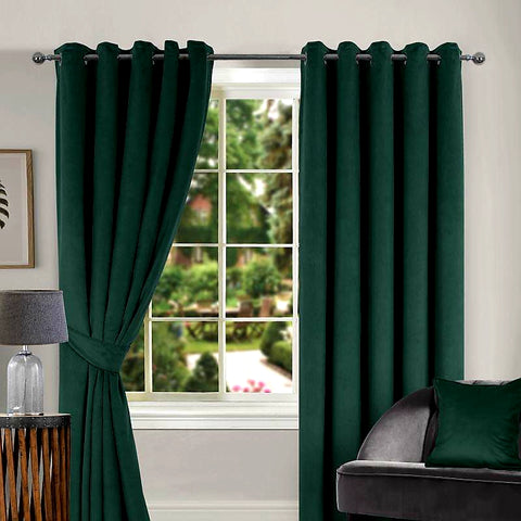Thermal Green Velour Curtains