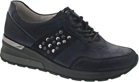 Metallic Navy Trainers for Orthotics