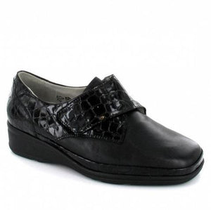 Waldlaufer black velcro wide fitting shoe with a croc effect design on upper