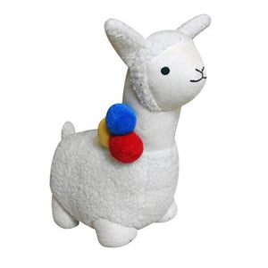 White llama doorstop with blue, yellow and red details.