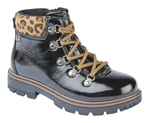 black patent hiking inspired boots with cheetah print ankle cuff