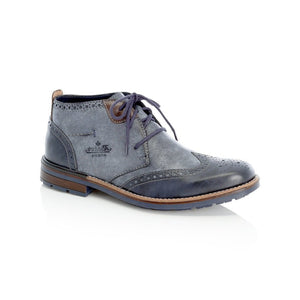 blue and navy lace up brogue-style boot