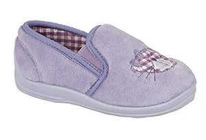 Purple slip on girls slippers with a cute cat detail