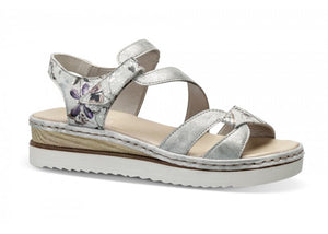 Rieker Silver Metallic Ladies Sandals with Velcro Closure