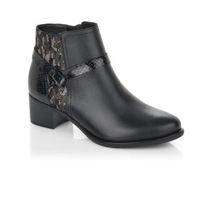 black heeled ankle boot with snake print panel