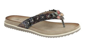 Ladies Summer Sandals Flip Flops with Flower Details