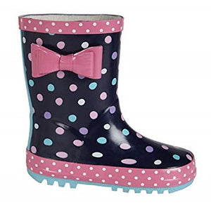 Kids Colourful Polka Dot Wellies with a Cute Bow