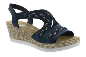 Women's navy blue wedge heeled sandal with navy metallic gold detailing.
