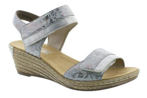 Ice Blue Wedge Velcro Ladies Sandals