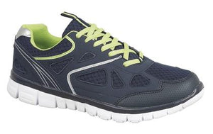 navy blue trainers with green laces ad white sole