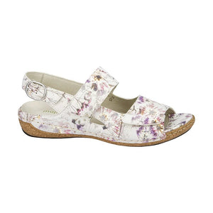 Waldlaufer White Velcro Sandal with purple Flower design