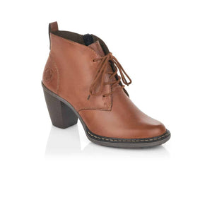Tan leather laced ankle boot with a block heel