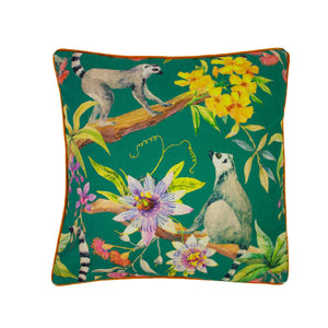 Jungle print cushion cover featuring cute lemurs, colourful exotic flowers and a bright orange reverse.