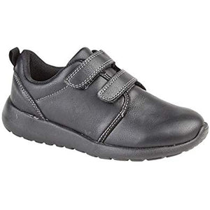 Black PU Leather Boys' Shoes with Top Velcro Fastening