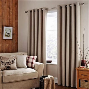 Hugo natural colour curtains with metal eyelets