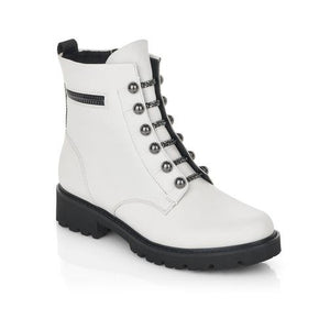 white combat boots with gunmetal hardware and black chunky sole