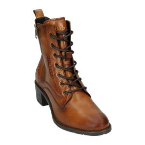 tan laced boots with block heel and side zip