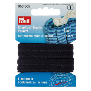 Prym Black Button Hole Elastic Velour 15mm x 1m