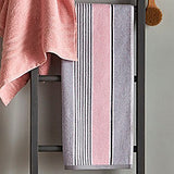 Catherine Lansfield Pink Textured Stripe Towels