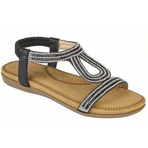 Black Diamante Ladies Sandals with Elasticated Back