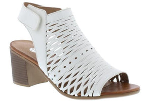 Women's heeled sandal from Remonte with beautiful white cut-out detailing with small heel and supportive ankle strap