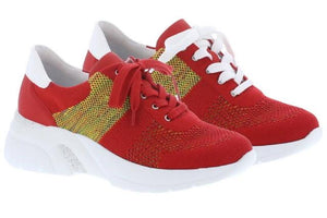 Women's red trainers with yellow knit detailing and interchangeable red and white laces.