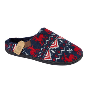Dasher Navy Red Nordic Mens Slippers