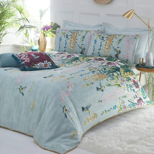 duck egg blue duvet set with colourful flowers and birds