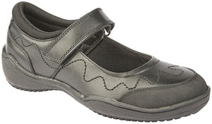 black leather school shoe with velcro strap
