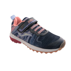Navy blue lightweight sparkly runners from Joma with pink detailing, featuring a velcro strap and bungee lac