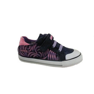 Sparkly navy canvas shoe with pink and purple details. Features velcro closure and bungee laces.
