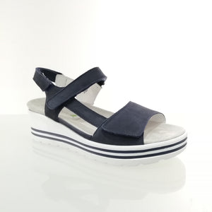 Wedge heeled sandal in navy from Waldlaufer. Soft sole and velcro straps