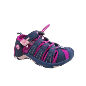 Sporty sandal in navy and purple