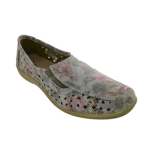 Multicolour slip on shoe with elasticated sides and cut out detailing.