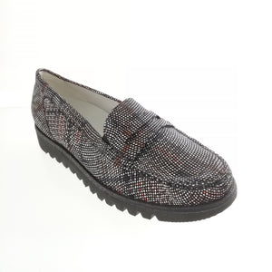Women's black leather slip on shoe from Waldlaufer in a subtle abstract plaid pattern.