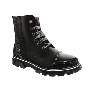 black leather boot from Pablosky with a houndstooth print panel, metallic details and studs around the patent toe