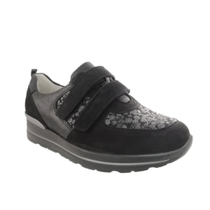 black trainer with double velcro closure & floral pattern