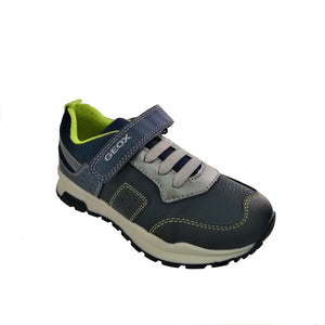 Geox navy & neon green runner with a velcro strap and silver bungee lace.