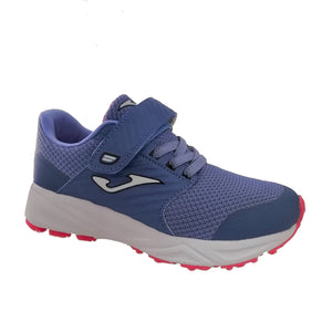 Lightweight girl's trainer in an icy purple blue colour with hot pink accents, velcro strap & bungee laces