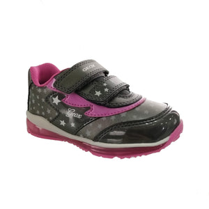 Grey trainer from Geox with a cute star pattern and pink detailing with 2 velcro straps