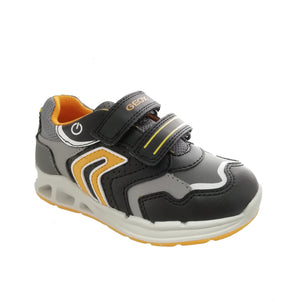 Lightweight black trainer from Geox featuring grey and white detailing with pops of bright orange and double velcro straps