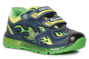 Green and navy light up runner from Geox with a double velcro strap