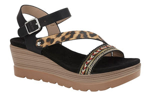 Black Leopard Print Ladies Wedge Sandals