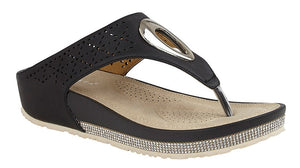 Black Wedge Ladies Sandals with Diamante Sole