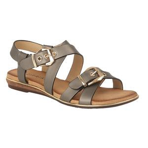 Grey Strappy Ladies Sandals with Golden Buckets | Cipriata