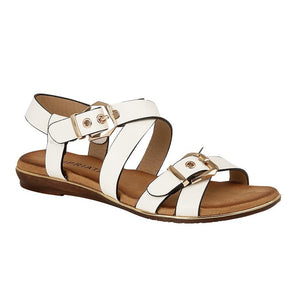 Cipriata Strappy White Ladies Sandals with Golden Buckles