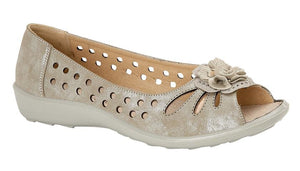 Metallic women's peep toe shoe with a flower embellishment.