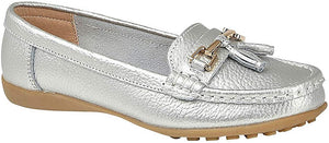 Ladies silver boat shoe