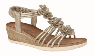 Gold Halterback Wedge Sandal